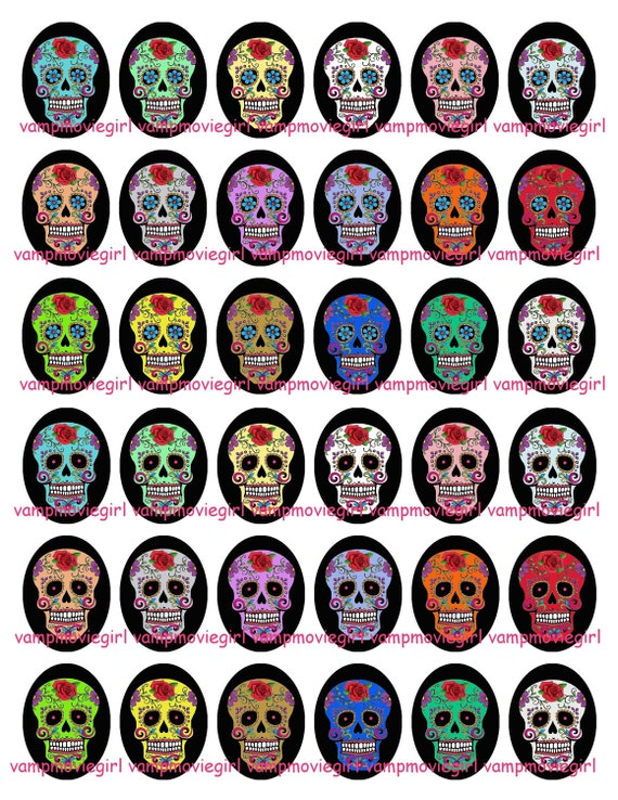 INSTANT DOWNLOAD...Colorful Sugar Skulls... 18x25mm Oval Images Collage Sheet for Pendants ...Buy 3 get 1