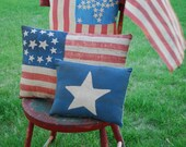 Distress Dark Blue Early Antique Style Star Stripe American Flag Pillow 4th of July Patriotic