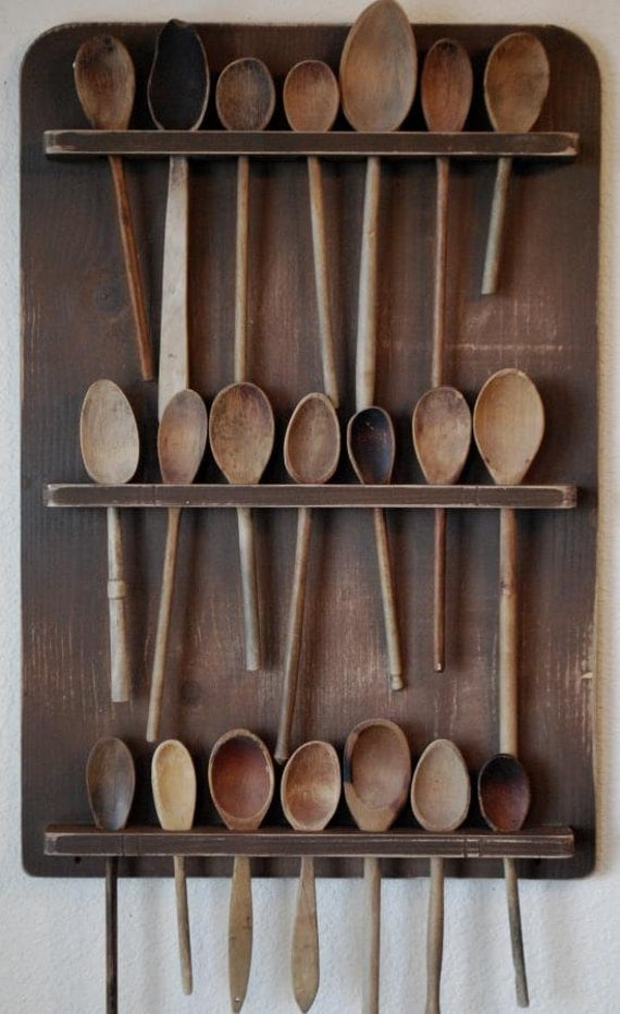 Primitive Antique Style Wooden Spoon Rack By Redroosterbab On Etsy