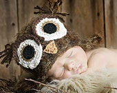3-6 month brown fuzzy owl hat with earflaps