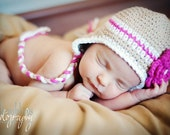 0-3 month tan beanie with hot pink stripe