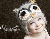 2T-4T brown and grey owl hat with earflaps
