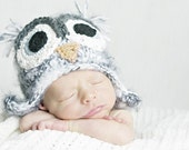 2T-4T gray fuzzy owl hat with earflaps