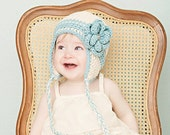 5T-preteen size cream earflap beanie with teal stripes and flower
