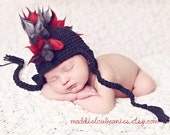 Mohawk hat baby boy 3-6 month size black and red earflap punk hat