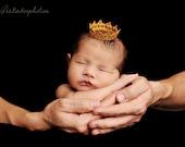 "Tiny ""Princess Alexandra"" Newborn Crown in Gold - Vintage Looking"