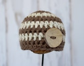 Ready to ship - Newborn size Brown and Oatmeal striped Beanie with a button