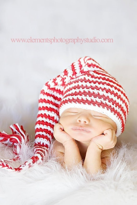 Newborn elf hat red and white striped stocking cap baby girl or boy beanie