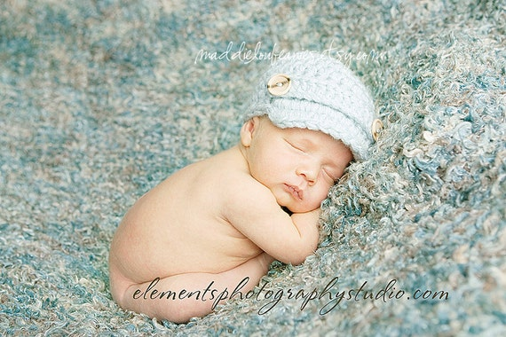 Newsboy hat baby boy newborn size silver blue with buttons or pick your own color