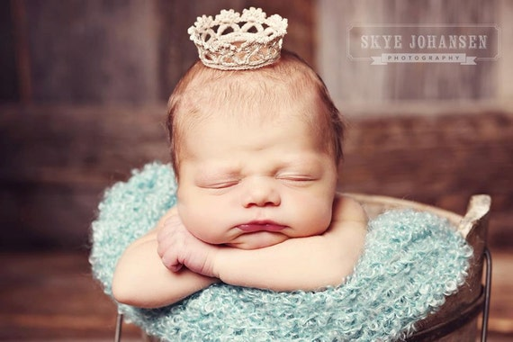 "Tiny ""Princess Anastasia"" style Newborn Crown in Antique Silver - Vintage Looking"
