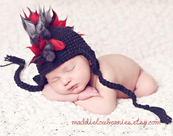 Mohawk hat baby boy newborn size to 12-24 month size black and red earflap punk hat