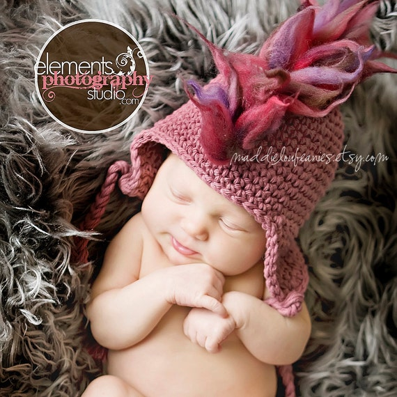 0-3 month Rose Pink Mohawk earflap hat