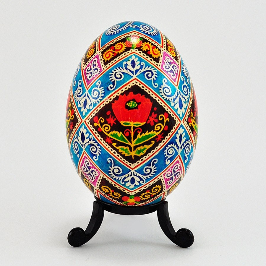 Real Traditional Ukrainian Easter Egg Hand Illustrated Poppy