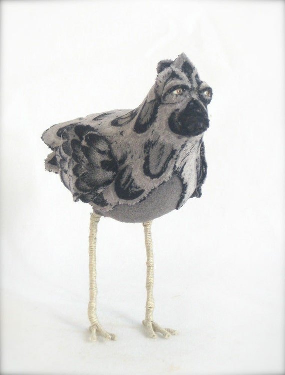 Little Grey Bird, Soft Sculpture from Vintage Fabrics