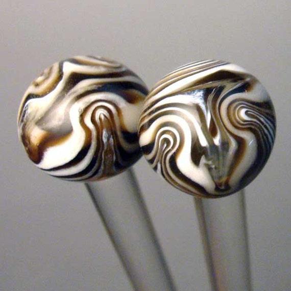 Vanilla Fudge Swirl Marbled Glass Knitting Needles