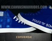 "Custom Hand Painted Dr Who ""TARDIS"" Converse"