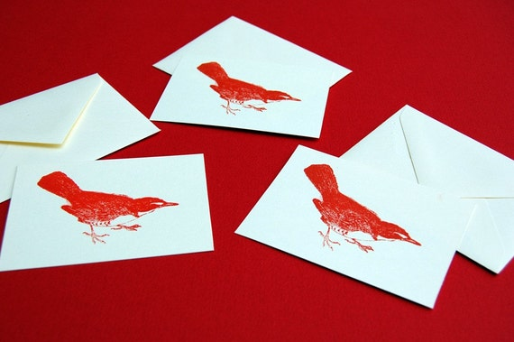 Little Red Bird packet of 3 gift cards
