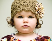 Fall Baby Girl Hat - Baby Girl Photo Prop - Organic Scallop Cap in Camel with Frayed Flower Clip in Autumn Cotton