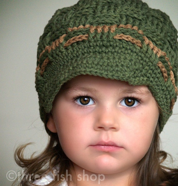 S P R I N G  S A L E  Original Waffle Weave Brim Beanie - Olive with Camel Accents - Toddler/Child Size 4