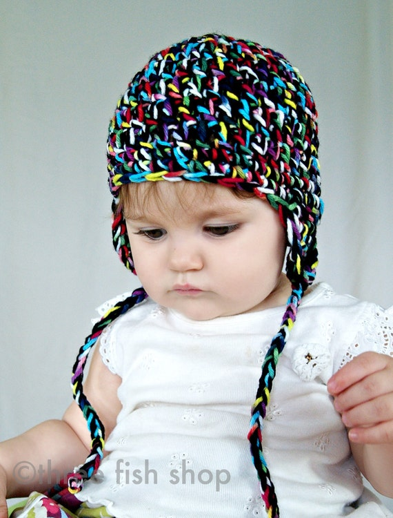 S P R I N G  S A L E  Child Photo Prop Hat - Handdyed Colorful Rainbow Chunky Knit Earflap Beanie - Size 1