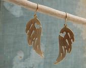 Golden WING Earrings  Steam Punk Bird Heart Angel