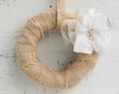 BURLAP  White Linen FLOWER  Wreath Rustic Shabby Chic