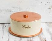 Vintage CAKE Saver Aluminum Cover Party Picnic Retro Kitchen Copper Cream