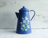 Vintage Blue Enamel Coffee Pot Hand Painted Daisy Flowers
