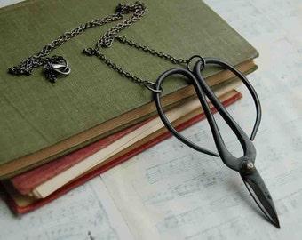 Black Scissor Necklace Steampunk Seamstress  Garden Bonsai Seamstress Crafter