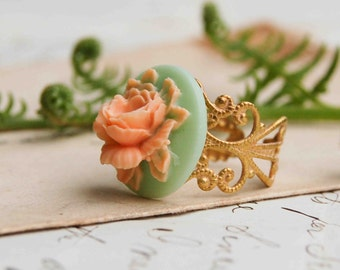 ROSE Ring Peach  Mint Gold Filigree Romantic Vintage Style Spring Wedding
