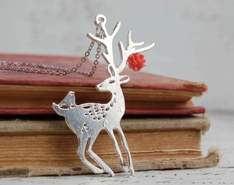 Forest DEER Silver NECKLACE Forest Friends Woodland Flower