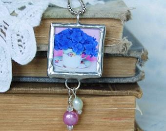Tea Cup Flower Necklace Tea Party Tea Cup Blue Hydrangea Flowers Pearls High Tea