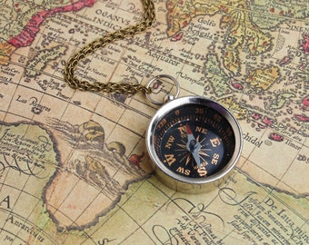 You Can Go Your Own Way . . . Vintage Style Compass Necklace Travel Bon Voyage Camping Pendant Wanderlust