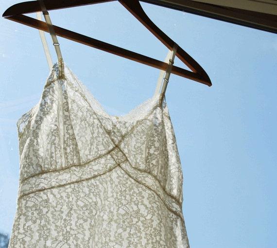 Vintage - Cream White LACE Slip Dress
