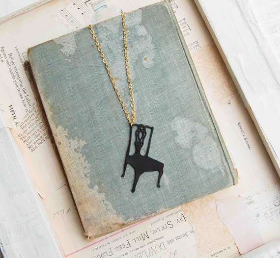 Black Chair Silhouette Necklace. Queen Anne Style