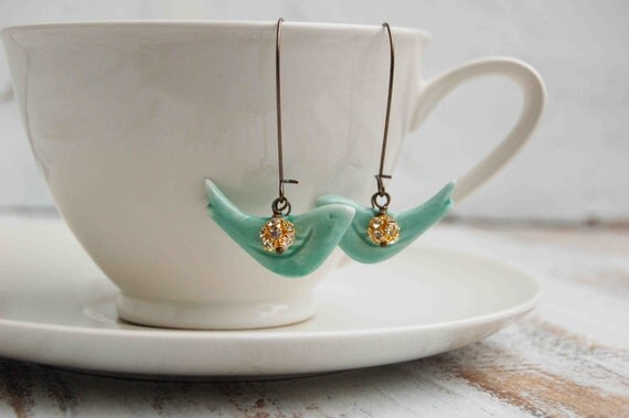 Blue BIRD of Happiness Earrings Ceramic Teal Blue Aqua Gold Rhinestone