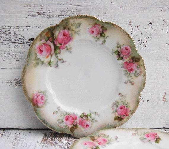 2  ROSE Dessert Plates Tea Party German Antique R.S. Porcelain