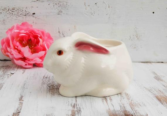 BUNNY Planter Container Avon Pink White Rabbit Spring