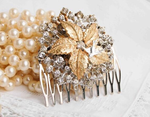 Vintage Silver Gold Rhinestone Hair Comb Wedding Bridal