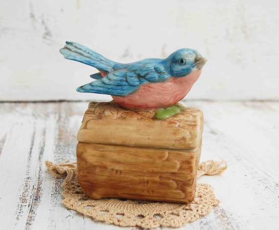 Vintage BLUE BIRD Porcelain Covered Box Spring Nature Jewelry Box