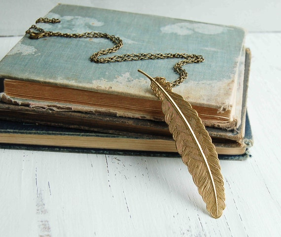 Long Gold Feather Necklace Gold Feather Pendant Long