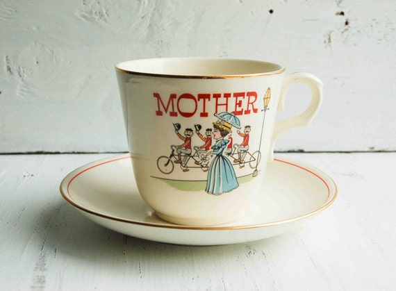Reserved Listing for R - Vintage MOTHER'S Tea Cup 1960's Large Coffee Cup Mother's Day