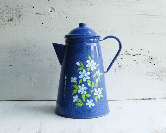 Vintage Blue Enamel Coffee Pot Hand Painted Daisy Flowers