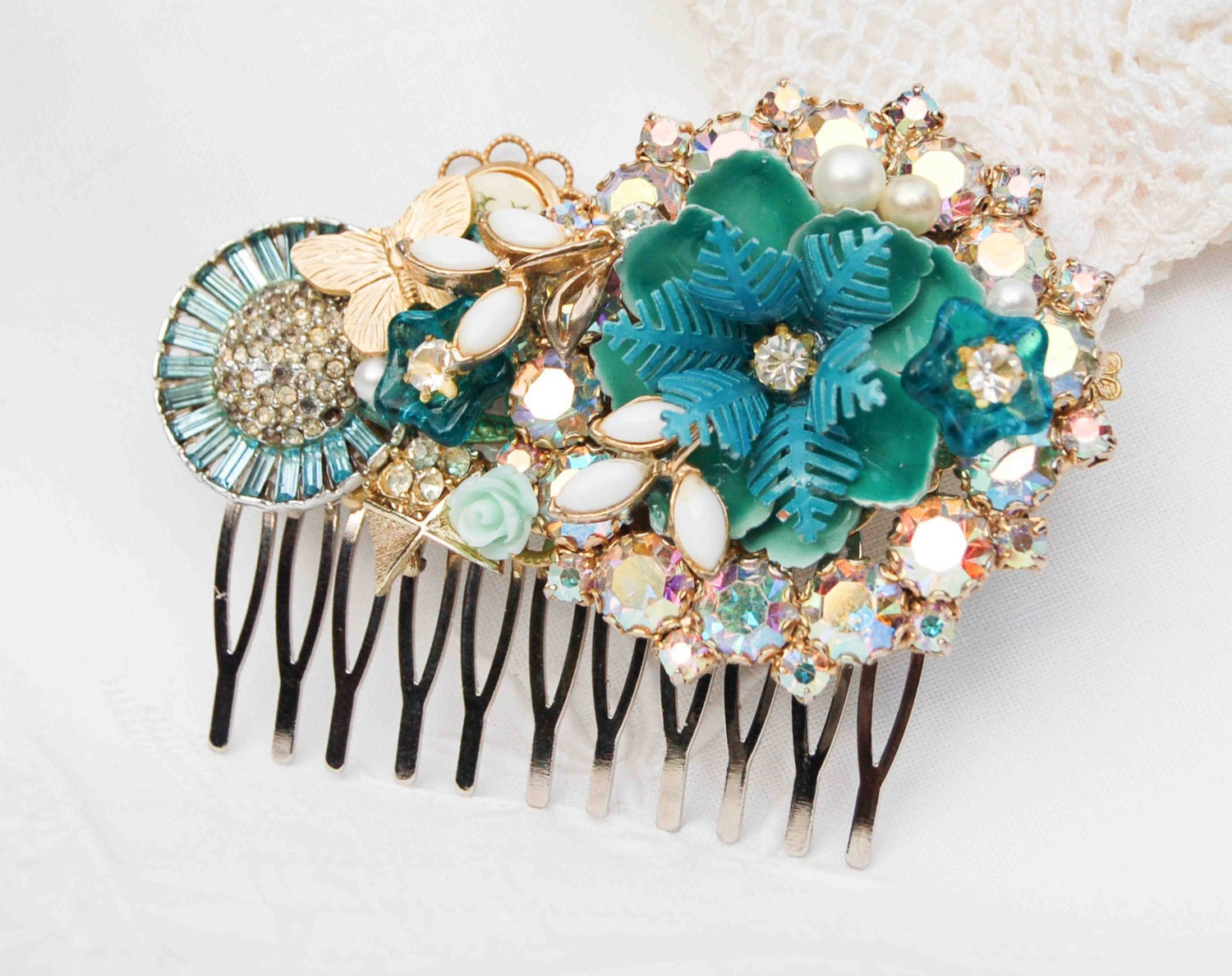 Something Blue Hair Comb Bridal Wedding Vintage By