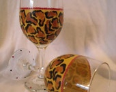 Funky Leopard Print Hand-Painted Wine Glass