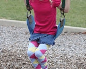 Blue Pink and Yellow Argyle Girls Leg Warmers
