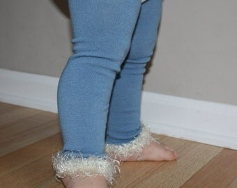 Frozen Blue and Ivory Baby Toddler Leg Warmers