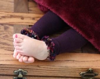 EggplantBaby Toddler Leg Warmers with Jewel Tone Trim