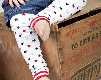 Red White Blue Stars Baby Leg Warmers