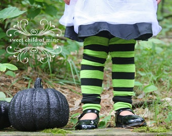 Green and Black Striped Halloween Baby Toddler Leg Warmers
